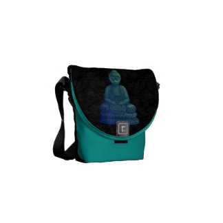 Arte verde místico del pixel de Buda Bolsa Messenger