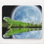 Arte verde Mousemat de la fauna de la iguana y de  Alfombrillas De Ratón
