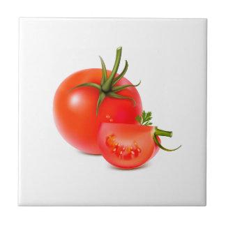 Arte verde rojo de la comida del tomate azulejo cuadrado pequeño