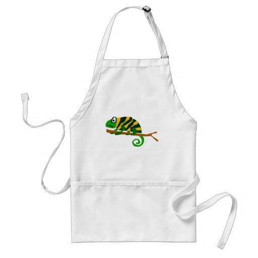 Arte verde y amarillo enrrollado del lagarto del c delantal