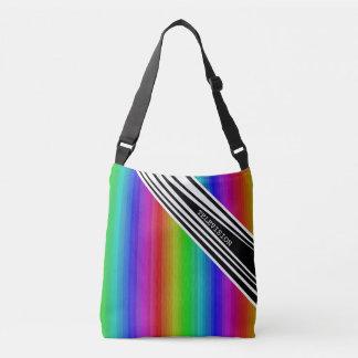 Arte vertical de las barras de color del arco iris bolsa cruzada