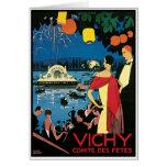 Arte Vichy Francia del poster del vintage Felicitacion