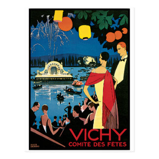 Arte Vichy Francia del poster del vintage Tarjeta Postal