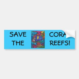 """Arte """"vitral """" del arrecife de coral del Angelfish Etiqueta De Parachoque"""