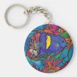 """Arte """"vitral """" del arrecife de coral del Angelfish Llaveros Personalizados"""