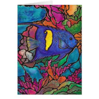 """Arte """"vitral """" del arrecife de coral del Angelfish Tarjeta De Felicitación"""