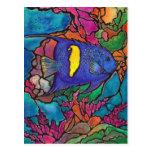 """Arte """"vitral """" del arrecife de coral del Angelfish Postales"""