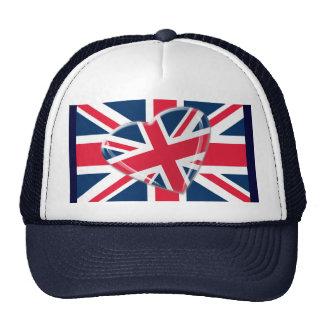 Arte vivaz de la bandera de Union Jack del corazón Gorro