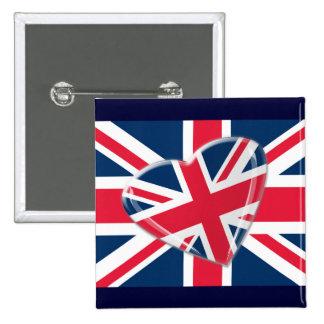 Arte vivaz de la bandera de Union Jack del corazón Pin