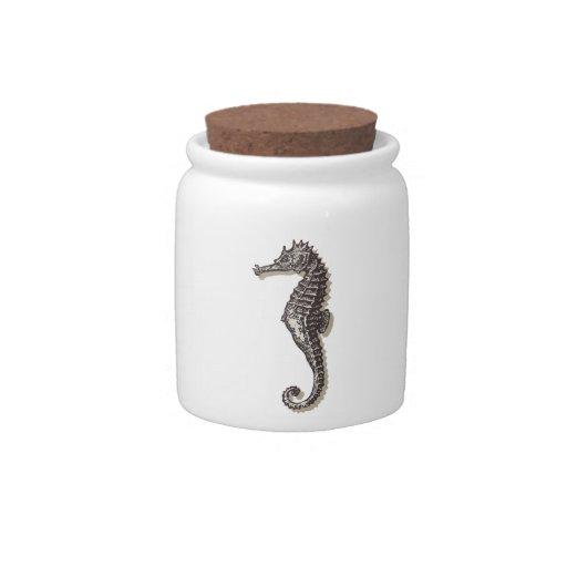 Arte vo2 de los caballos de mar tarro de cerámica para dulces