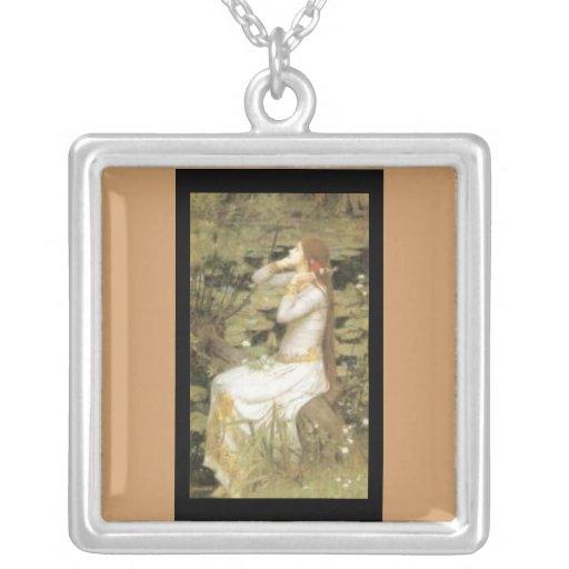 Arte-Waterhouse-Ofelia Collar-Clásica Colgante Cuadrado