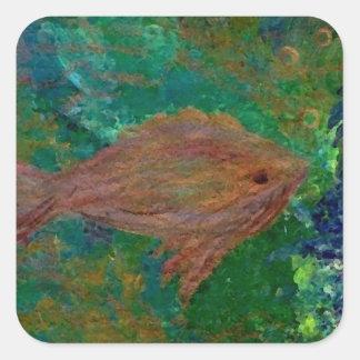 Arte y diseño de CricketDiane de los pescados 7 Pegatina Cuadrada