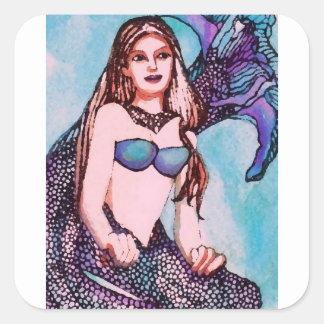 Arte y diseño de Jenet CricketDiane de la sirena Pegatina Cuadrada