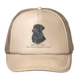 arte y lema negros del retrato del perro del gorro de camionero