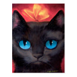Arte y mariposa del gato negro - multi postal