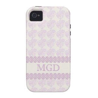 Arte y monograma florales en sombras del rosa vibe iPhone 4 fundas
