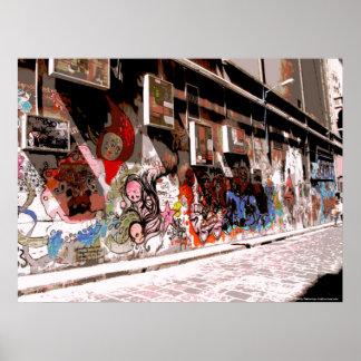Arte y pintada de la calle en el carril de los póster