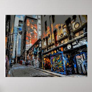 Arte y pintada - Melbourne de la calle del carril Póster