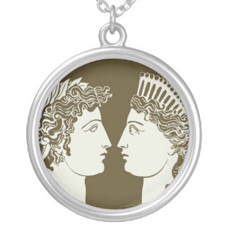 Artemis and Apollo Round Pendant Necklace
