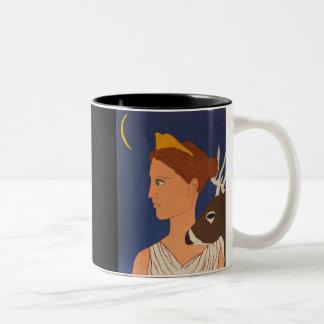 Artemis:  La diosa de la luna Taza De Dos Tonos