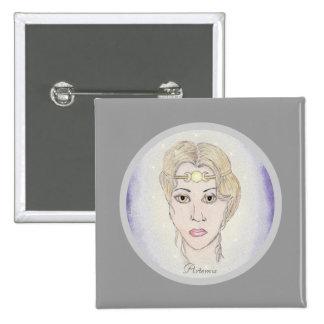 Artemis Moon Goddess 2 Inch Square Button