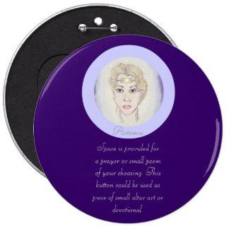 Artemis Moon Goddess 6 Inch Round Button
