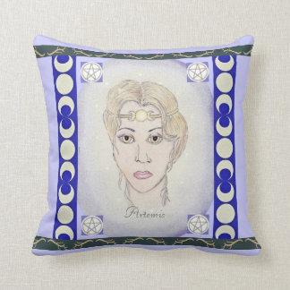Artemis Moon Goddess Pentacle Choose BG Color Throw Pillow