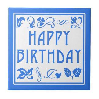 Artes azules y blancos y artes del feliz cumpleaño azulejo cuadrado pequeño