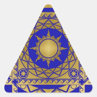 Artes de la Atlántida de cobre amarillo en azul Pegatina Triangular
