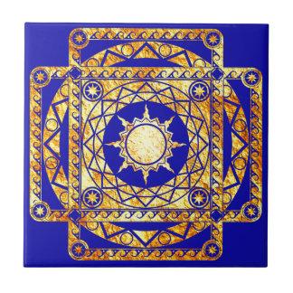 Artes de la Atlántida en azul Azulejo Cuadrado Pequeño