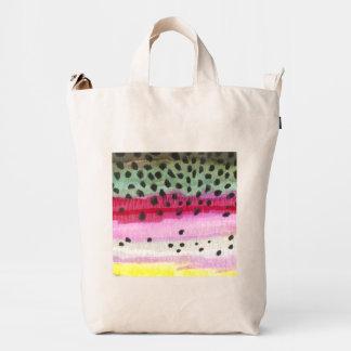 Artes de pesca de la trucha arco iris bolsa de lona duck