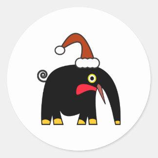 Artes lindos del navidad: elefante negro pegatina redonda