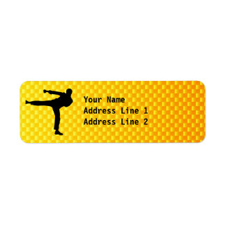 Artes marciales amarillo-naranja etiqueta de remite