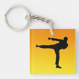 Artes marciales amarillo-naranja llavero cuadrado acrílico a doble cara