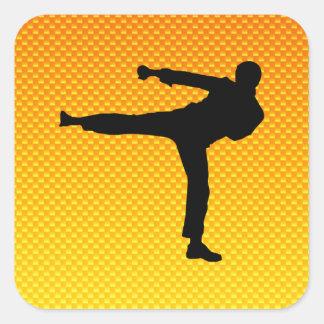 Artes marciales amarillo-naranja pegatina cuadrada