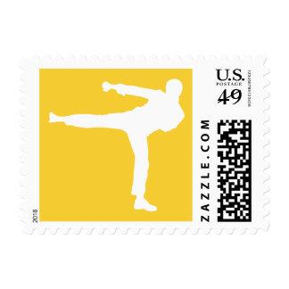 Artes marciales ambarinos amarillos estampillas