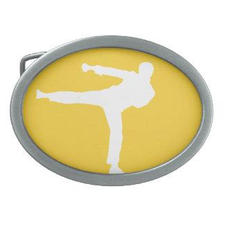 Artes marciales ambarinos amarillos hebillas de cinturon ovales