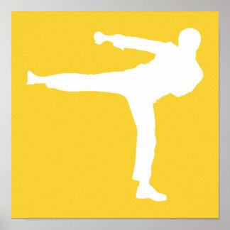 Artes marciales ambarinos amarillos póster