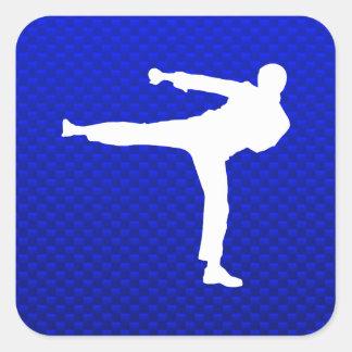 Artes marciales azules pegatinas cuadradas