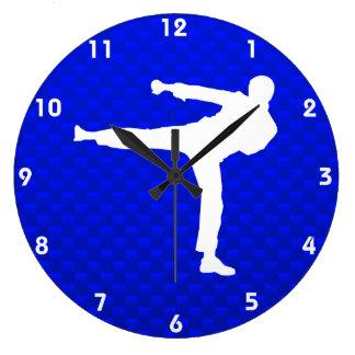 Artes marciales azules reloj redondo grande