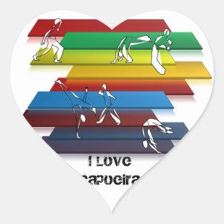 artes marciales del amor del corazón del capoeira pegatina en forma de corazón