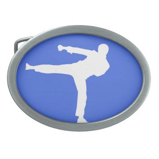 Artes marciales del azul real hebillas de cinturon ovales