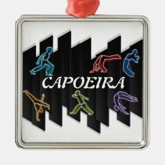 artes marciales del capoeira del ornamento adorno navideño cuadrado de metal