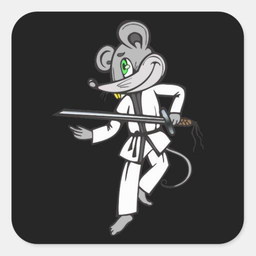 Artes marciales del ratón calcomania cuadradas