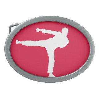 Artes marciales del rojo carmesí hebillas de cinturon ovales