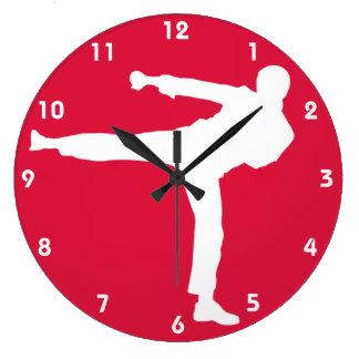 Artes marciales del rojo carmesí reloj redondo grande