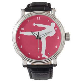 Artes marciales del rojo carmesí relojes de pulsera