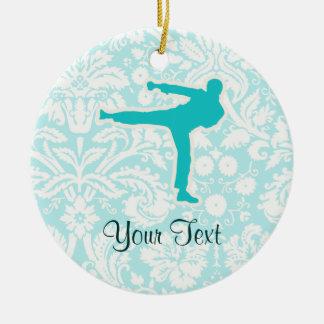 Artes marciales del trullo adorno navideño redondo de cerámica
