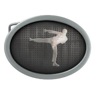 Artes marciales frescos hebilla de cinturón oval