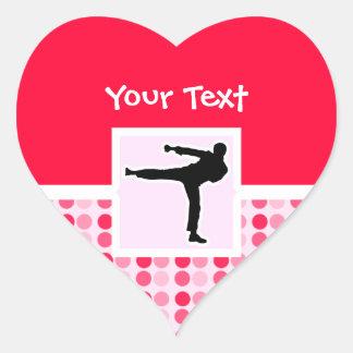 Artes marciales lindos pegatina en forma de corazón